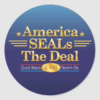 America SEALs The Deal_God Bless Team Six round Classic Round Sticker