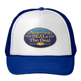 America SEALS The Deal_God Bless Team Six Trucker Hat