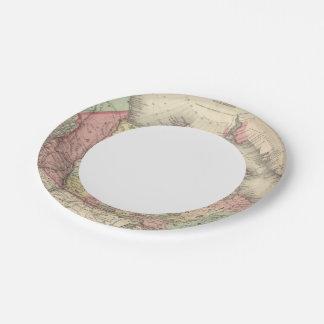 América septentrional plato de papel de 7 pulgadas