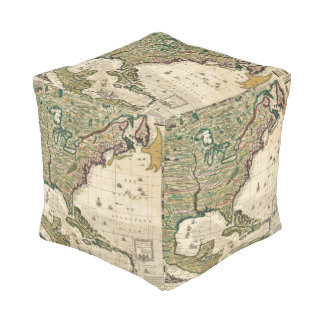 America Septentrionalis Cube Pouf
