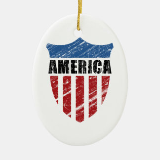America Shield Ceramic Ornament
