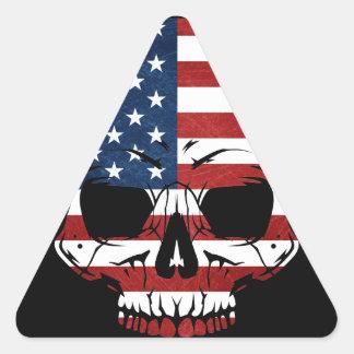 America Skull Flag Skeleton Evil Triangle Sticker