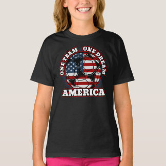 America Soccer One Team One Dream US Flag T-Shirt