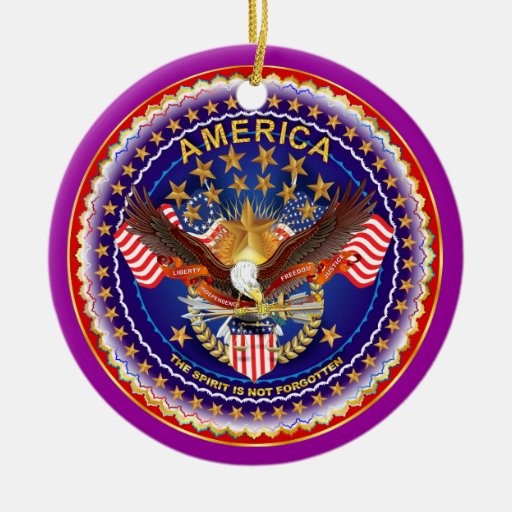 America Spirit Charm  Please See Notes Double-Sided Ceramic Round Christmas Ornament