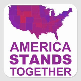 America Stands Together - Centrist / Moderate Gear Square Sticker