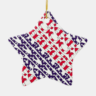 America Stars and Stripes Double-Sided Star Ceramic Christmas Ornament
