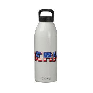 America Text Design Drinking Bottle