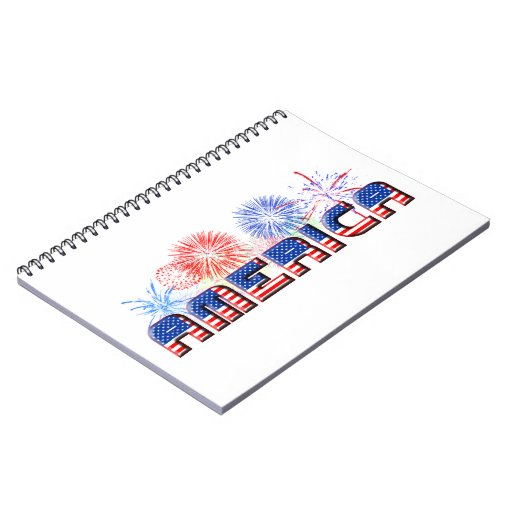 America Text w/Stars & Stripes with Fireworks Notebook