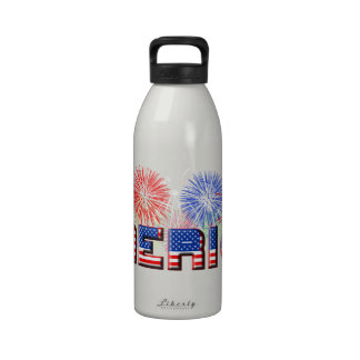 America Text w Stars Stripes with Fireworks Drinking Bottles