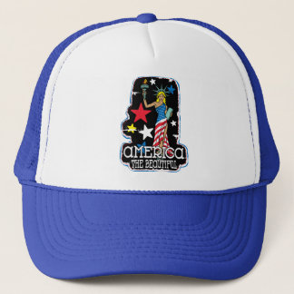America The Beautiful Girl Statute of Liberty Trucker Hat
