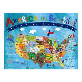 America The Beautiful Map Postcard