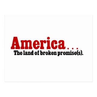America, the land of broken promise postcard