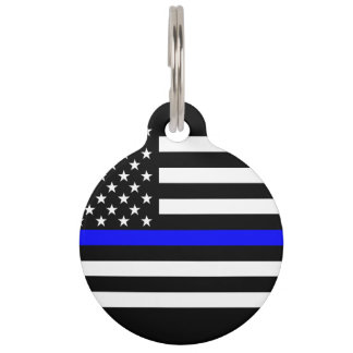 America Thin Blue Line Symbol Pet ID Tag