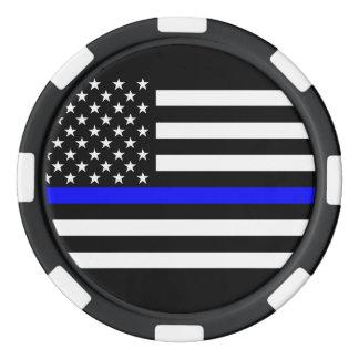 America Thin Blue Line Symbol Poker Chips