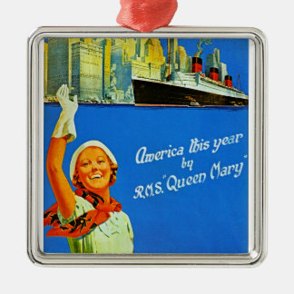 America This Year by RMS Queen Mary Square Metal Christmas Ornament