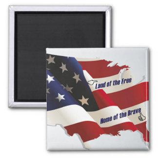 América tierra del hogar libre del valiente del pa imán de frigorifico