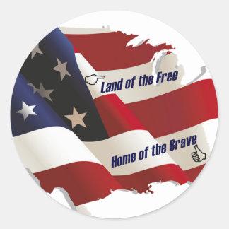 América tierra del hogar libre del valiente del pa etiquetas redondas
