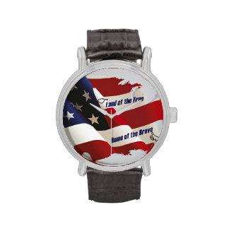 América tierra del hogar libre del valiente del pa relojes de pulsera