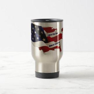 América tierra del hogar libre del valiente del pa tazas