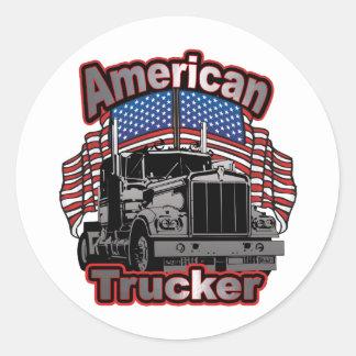 America Trucker Classic Round Sticker