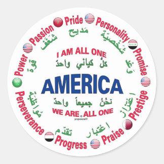 america united classic round sticker