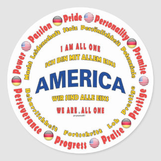 america united - german classic round sticker