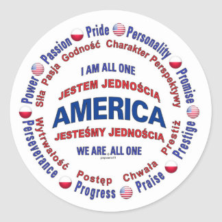 america united - polish classic round sticker