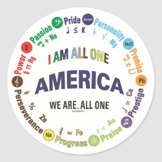 america united - universal languages classic round sticker