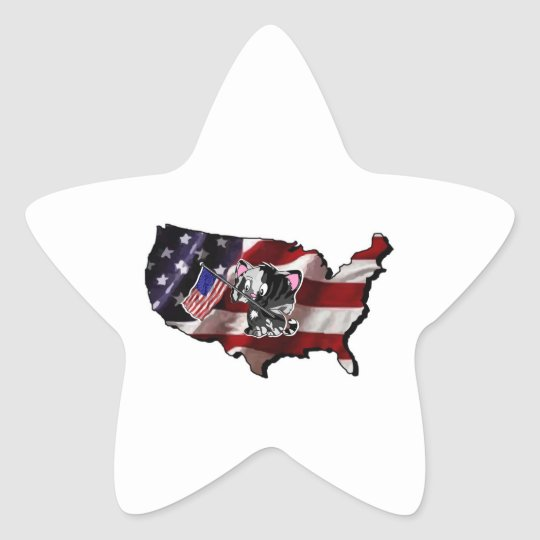 America: USA Silhouette and Kitty Star Sticker