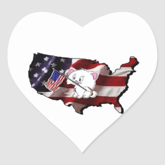 America: USA Silhouette and Kitty Heart Sticker