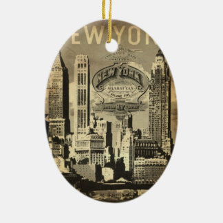 America USA travel vintage New York Ceramic Ornament
