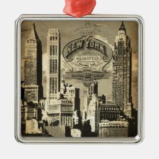 America USA travel vintage New York Metal Ornament
