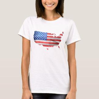 America USA United States Flag Map Grunge Design T-Shirt