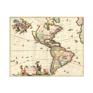 America vintage Map 1670 wrapped canvas Canvas Print