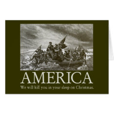 America will kill you in your sleep on Christmas Card at Zazzle
