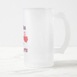 America With Polish Parts Frosted Glass Beer Mug