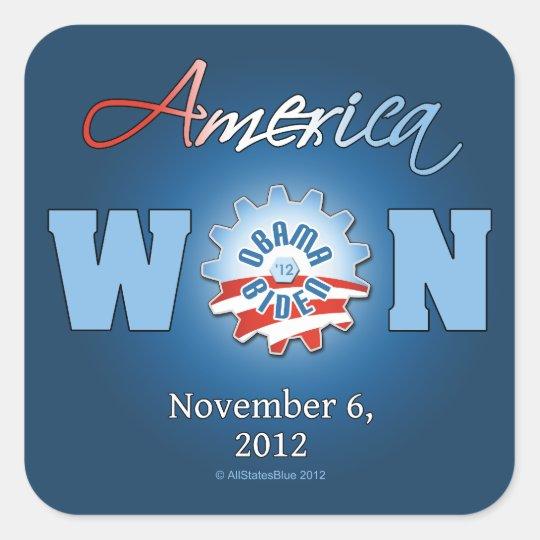 America Won On Nov. 6, 2012 Square Sticker
