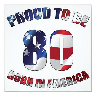 American 80th Birthday Invitation