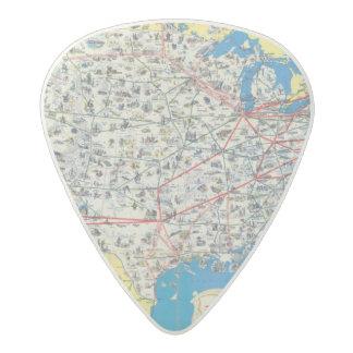 American Airlines system map Acetal Guitar Pick