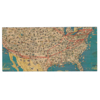 American Airlines system map Wood USB 2.0 Flash Drive