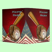 American All Star Baseball Binder - American All Star Baseball Binder featuring an aged American flag on a brilliant starburst red background embossed with a wooden baseball bat, baseball glove and all star baseball complete with a silvery star.