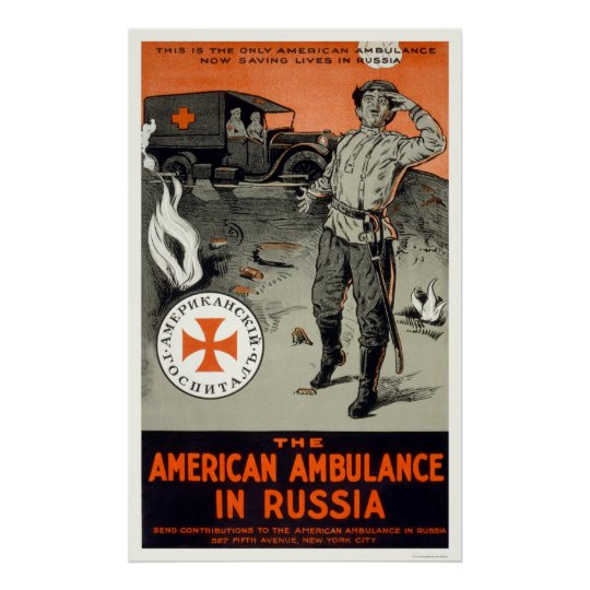 American ambulance in Russia Poster