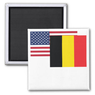 American And Belgian Flag 2 Inch Square Magnet
