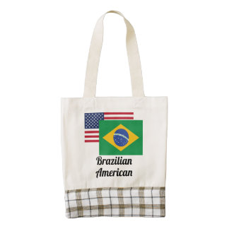American And Brazilian Flag Zazzle HEART Tote Bag