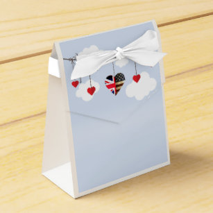 American And British Flags Heart Royal Wedding Favor Box