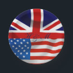 "American and British flags,  Royal Wedding Paper Plate<br><div class=""desc"">Isn&#39;t this the perfect addition to your party to celebrate the upcoming royal wedding? Get your guests into the spirit of things with this joint flag party decor. This is part of a collection, why not have a look at the other items available to make your party a smash. This...</div>"