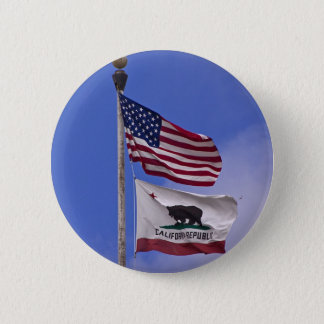 AMERICAN AND CALIFORNIA STATE flags Pinback Button