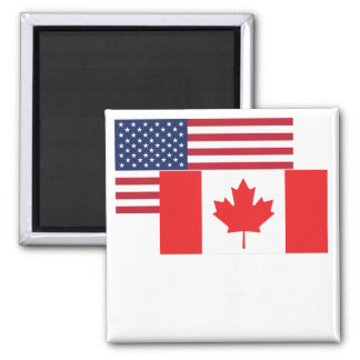 American And Canadian Flag Magnet