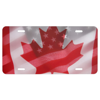 American and Canadian flags License Plate
