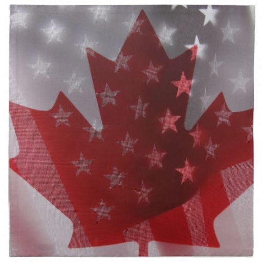 American and Canadian flags napkins